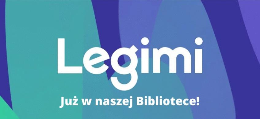 Legimi - napis na niebieskim tle